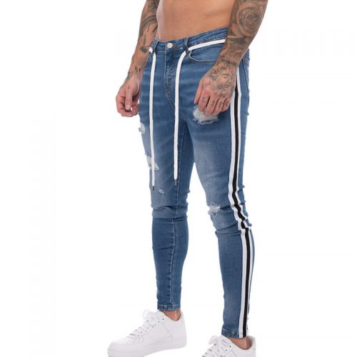 Mens Side Striped Fitted Jeans