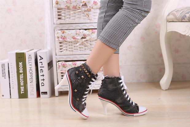 Womens High Heel Sneakers Black