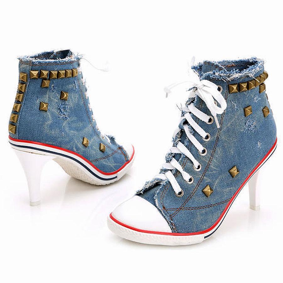 Womens High Heel Sneakers Blue