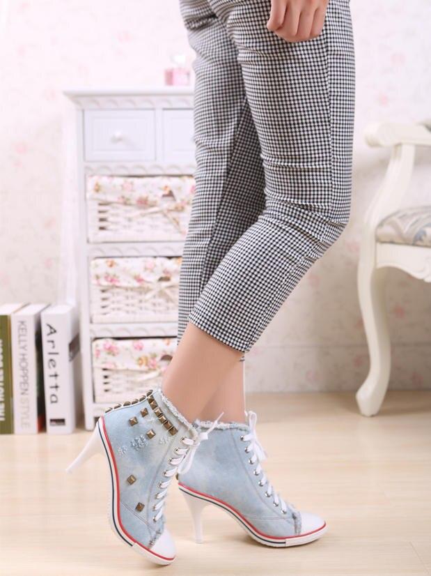 Womens High Heel Sneakers Denim