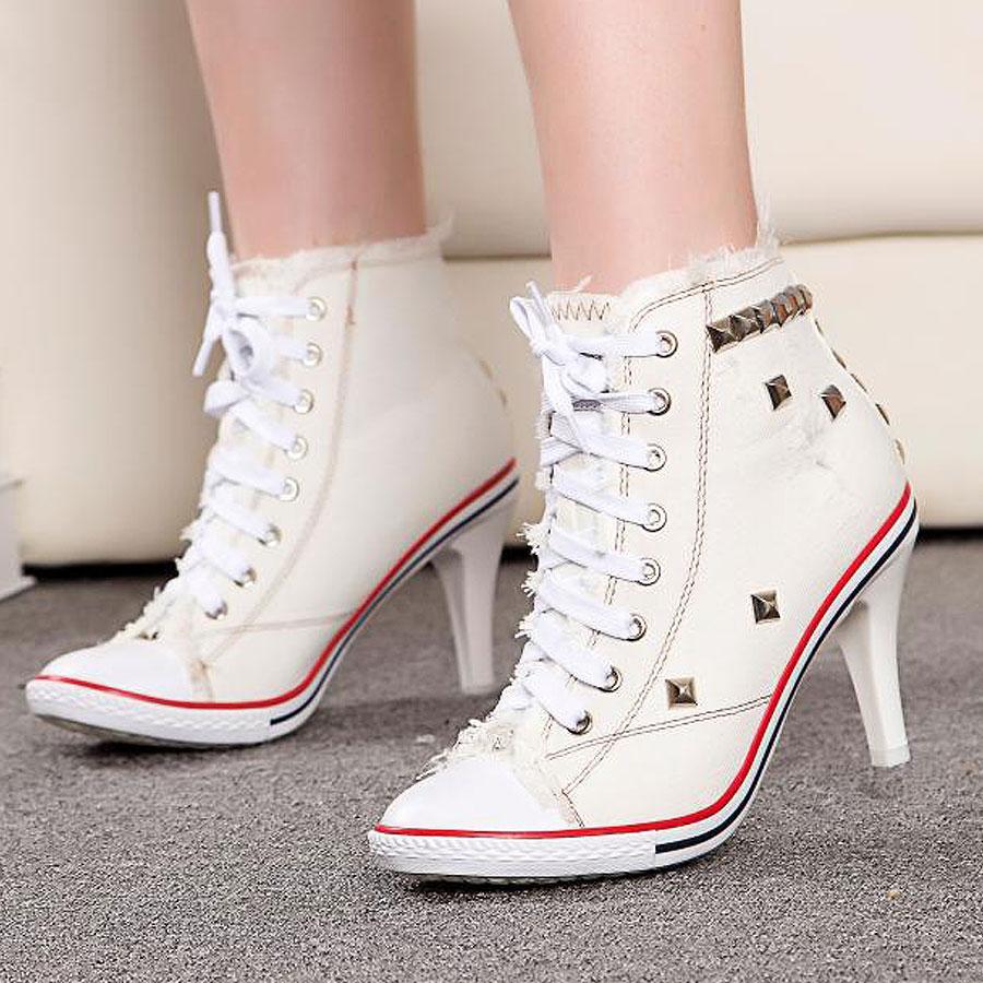 Womens High Heel Sneakers White