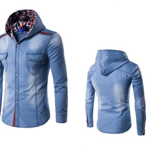 Mens Hooded Denim Shirt