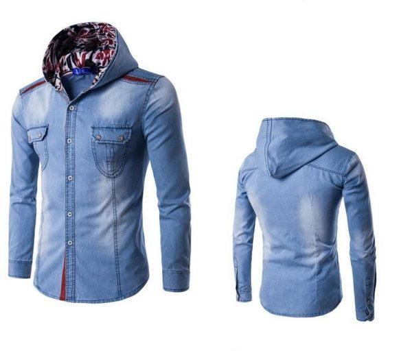 Mens Hooded Denim Shirt